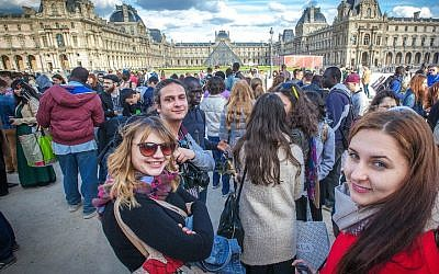 Participants in the Eurostars trip to France in 2015 at the Louvre Museum in Paris. (Courtesy of Yachad/via JTA)