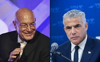 Producer Arnon Milchan in 2016 (left) and Knesset member Yair Lapid in 2018 (composite photo: Evan Agostini/Invision/AP; Miriam Alster/Flash90)