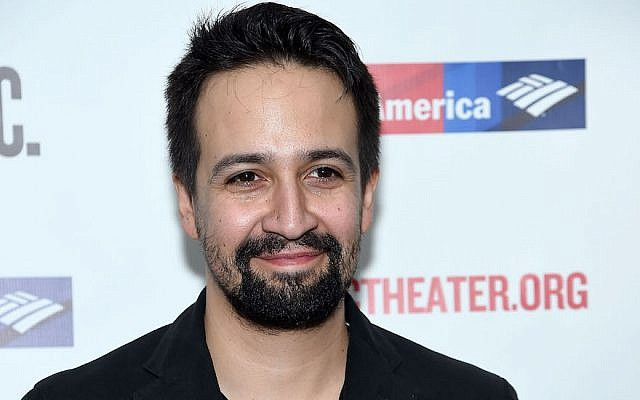 Lin-Manuel Miranda at The Public Theater in New York City on February 20, 2018. (Jamie McCarthy/Getty Images via JTA)