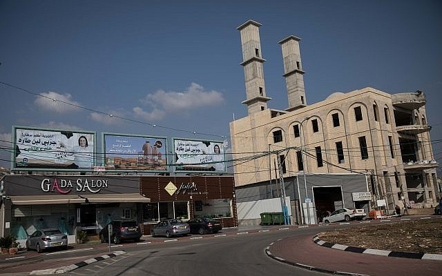 A new mosque under construction on the main road of the Arab-Israeli village of Majd al-Krum, near the northern Israeli city of Karmiel, on November 8, 2017. (Hadas Parush/Flash90)