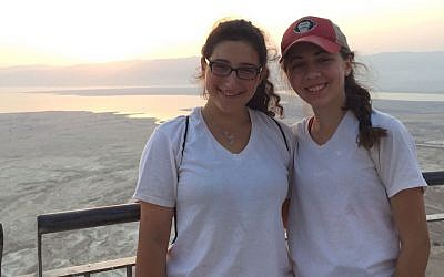 Talia Newfield, left, and Zoe Saldinger at Masada in Israel. (Courtesy of Cathryn Saldinger via JTA)