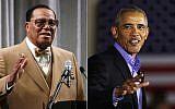 Louis Farrakhan, left, and former President Barack Obama (Mark Wilson/Getty Images; Spencer Platt/Getty Images)