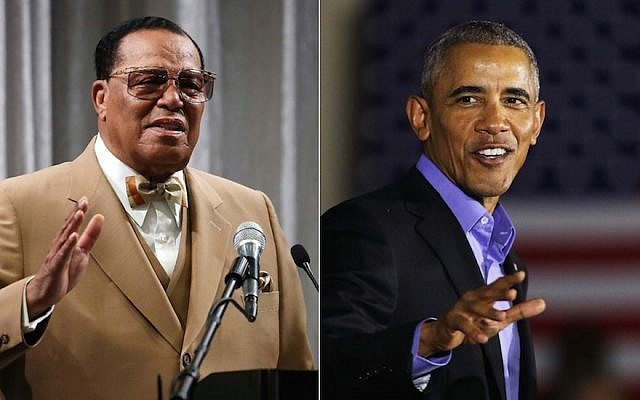 Louis Farrakhan, left, and former President Barack Obama (Mark Wilson/Getty Images; Spencer Platt/Getty Images)