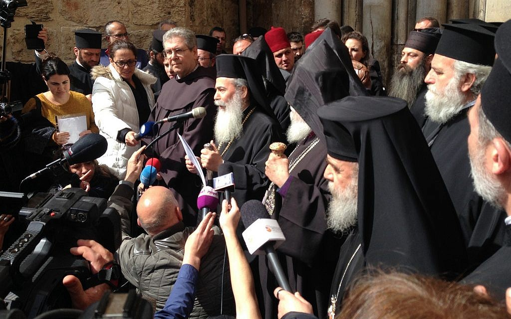The Greek Orthodox Patriarch Theophilus lll announces the closure of the Holy Sepulchre Church in protest at Israeli policies, February 25, 2018. (Courtesy)