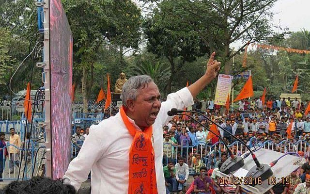70,000 Hindus in India rally for Israel under Hindu Samhati Banner in Kolkata, February 14, 2018. Pictured: Sri Tapan Ghosh, head of the Hindu Samhati. (Vijeta Uniyal)