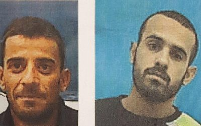 Muhammad Ali Ibrahim al-Askara (R) and Awad Mahmoud al-Asakra (R), two suspected members of a Palestinian Islamic Jihad-linked terrorist cell that was plotting to assassinate Defense Minister Avigdor Liberman. (courtesy Shin Bet)