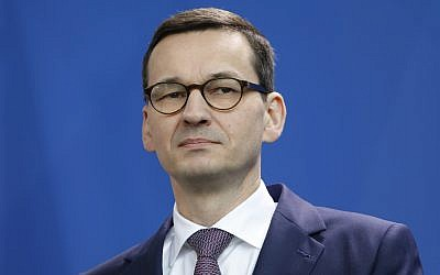 Prime Minister Mateusz Morawiecki of Poland at a joint news conference with Germany's chancellor in Berlin, February 16, 2018. (Michele Tantussi/Getty Images/via JTA)