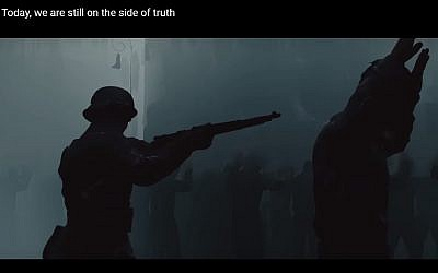 An image from a Polish government video clip which claims that Jews and Poles suffered Nazi terrors together, February 2018. (YouTube screenshot)