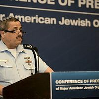 Police Commissioner Roni Alsheich addresses the Conference of Presidents of Major Jewish Organizations annual mission in Jerusalem on February 20, 2018. (Avi Hayoun / Conference of Presidents)