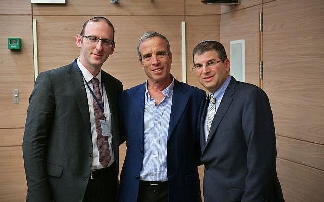 From left: Rabbi Adam Scheier of Montreal, Israeli lawmaker Elazar Stern and Rabbi Seth Farber of the ITIM organization at the Knesset, February 19, 2018. (Aviad Weizmann via JTA)