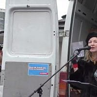 Michele Renouf speaking at a far-right rally in Dresden on February 17, 2018. (screen capture: YouTube)