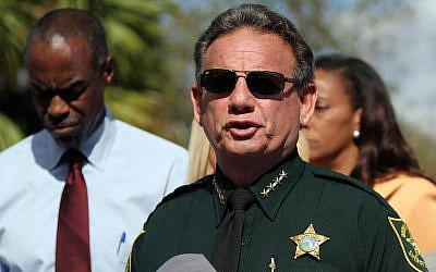 Then Broward County sheriff Scott Israel speaks during a news conference on February 15, 2018, near Marjory Stoneman Douglas High School in Parkland, Florida, where 17 people were killed in a mass shooting the day before. (Amy Beth Bennett/Sun Sentinel/TNS via Getty Images/via JTA)