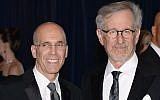 Jeffrey Katzenberg (L) and Steven Spielberg (R) attend the White House Correspondents' Association Dinner at the Washington Hilton on April 27, 2013 in Washington, DC.  (Photo by Dimitrios Kambouris/Getty Images via JTA)