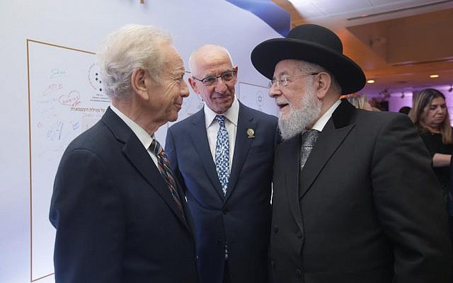 Senator Joe Lieberman (left) with Rabbi Yisrael Meir Lau (right) and Haim Taib, founder and chairperson of the 'First Israeli Congress on Judaism and Democracy.' (Erez Uzir)