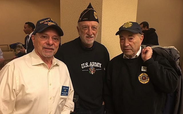From left to right: Jerome Blum, past national commander of Jewish War Veterans; Matthew Millen, commander of a California JWV post; and Barry Schneider of Texas at a JWV Shabbaton in Arlington, Virginia, February 10, 2018. (Ron Kampeas/JTA)