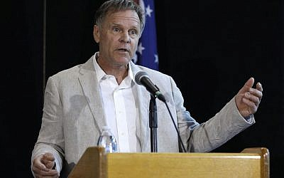 Fred Warmbier, father of Otto Warmbier, holding a press conference in Wyoming while wearing the jacket his son wore when he gave a forced confession in North Korea, June 15, 2017. (Bill Pugliano/Getty Images via JTA)