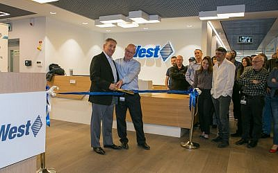 Eric Resnick, VP & Chief Technology Officer, Innovation & Technology and Jacob Weiser, VP and General Manager, Israel cut the ribbon at West's new facility in Ra'anana, Israel (Courtesy)