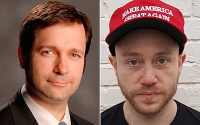 Jay Wolman (left), defends Andrew Anglin (right), the founder of the anti-Semitic website The Daily Stormer. (Randazza Legal Group/Wikimedia Commons via JTA)
