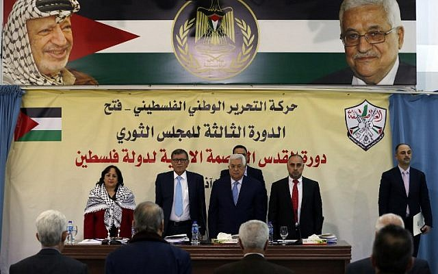 Palestinian Authority President President Mahmoud Abbas (C-R) attends a meeting with the Revolutionary Council of the ruling Fatah party in the West Bank city of Ramallah on March 1, 2018. (AFP Photo/Abbas Momani)