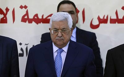 Palestinian Authority President Mahmud Abbas attends a meeting with the Revolutionary Council of the ruling Fatah party on March 1, 2018, in the West Bank city of Ramallah. (AFP/Abbas Momani)