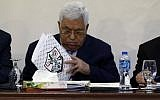 Palestinian Authority President President Mahmoud Abbas attends a meeting with the Revolutionary Council of the ruling Fatah party in the West Bank city of Ramallah, on March 1, 2018. (AFP Photo/Abbas Momani)