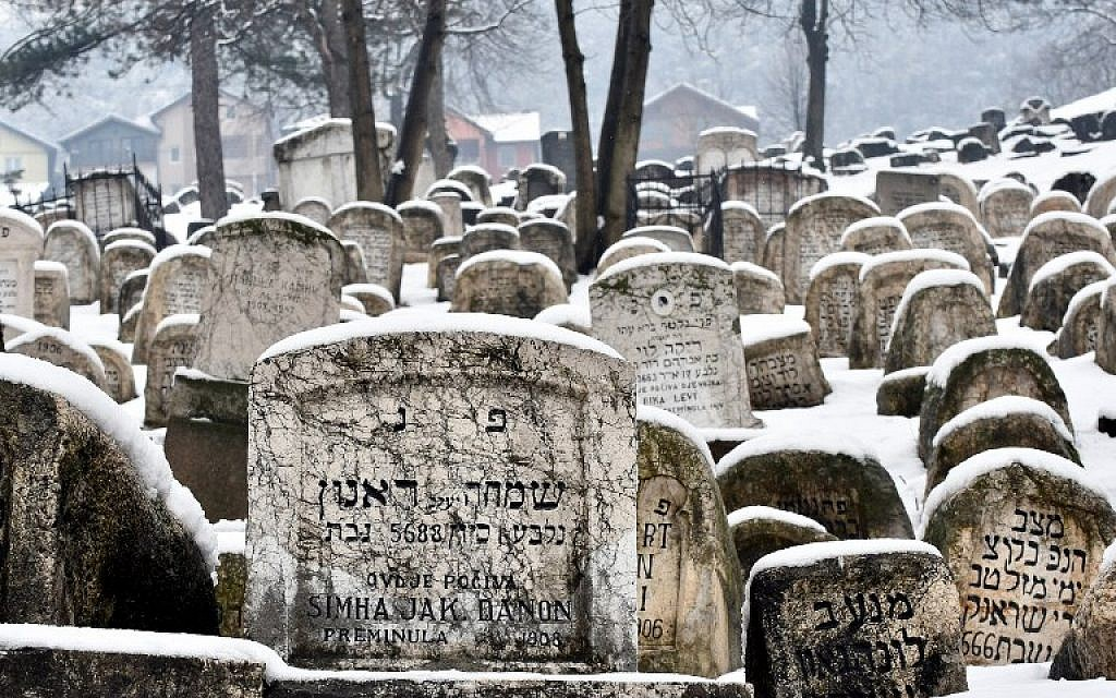 This photograph taken on February 23, 2018, shows old tombstones at the Jewish cemetery in Sarajevo. (AFP PHOTO / ELVIS BARUKCIC)