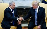 US President Donald Trump shakes hands with Prime Minister Benjamin Netanyahu in the Oval Office of the White House on  March 5, 2018. (AFP Photo/Mandel Ngan)