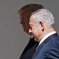 US President Donald Trump and Prime Minister Benjamin Netanyahu make their way to the Oval Office for a meeting at the White House on  March 5, 2018. (AFP Photo/Mandel Ngan)