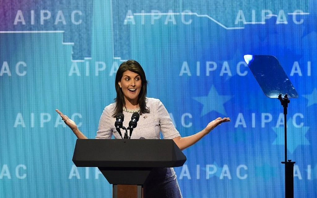 US Ambassador to the United Nations Nikki Haley speaks at the American Israel Public Affairs Committee (AIPAC) policy conference in Washington, DC, on March 5, 2018. / AFP PHOTO / Nicholas Kamm)