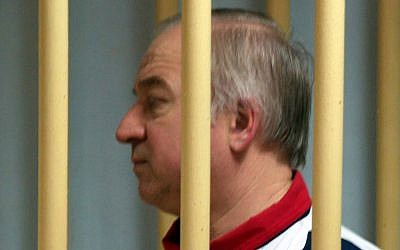 Former Russian military intelligence Colonel Sergei Skripal attends a hearing at the Moscow District Military Court in Moscow on August 9, 2006.(AFP/Kommersant Photo/Yuri Senatorov)