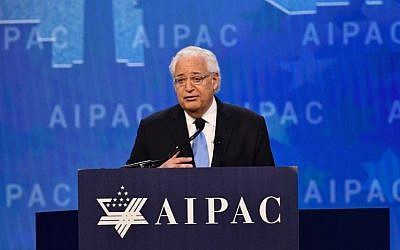 US Ambassador to Israel David Friedman addresses the American Israel Public Affairs Committee (AIPAC) policy conference in Washington, DC, on March 6, 2018. (AFP PHOTO / Nicholas Kamm)