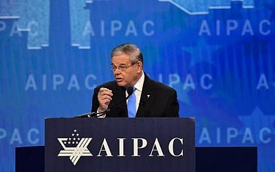 New Jersey Senator Robert Menendez speaks at the American Israel Public Affairs Committee (AIPAC) policy conference in Washington, DC, on March 6, 2018. (AFP PHOTO / Nicholas Kamm)
