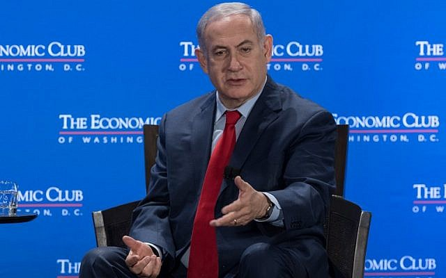 Prime Minister Benjamin Netanyahu addresses the the Economic Club of Washington in Washington, DC, on March 7, 2018. (AFP PHOTO / NICHOLAS KAMM)