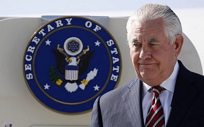 US Secretary of State Rex Tillerson disembarks from his plane as he arrives at Djibouti Ambouli International Airport in Djibouti, March 9, 2018. (AFP/Pool/Jonathan Ernst)