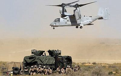 A US V-22 Osprey takes part in a training exercise during the joint Israeli-US military Juniper Cobra air defense drill at the Tzeelim urban warfare training center in southern Israel on March 12, 2018. (Jack Guez/AFP)