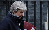 File: Britain's Prime Minister Theresa May leaves 10 Downing street for the weekly Prime Minister Question (PMQ) session in the House of Commons in London on March 14, 2018.  (AFP Photo/Daniel Leal-Olivas)