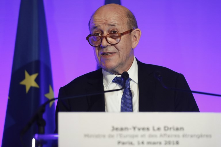 French Foreign Affairs Minister Jean-Yves Le Drian speaks to the press  during a joint