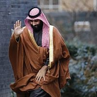 In this file photo taken on March 7, 2018 Saudi Arabia's Crown Prince Mohammed bin Salman waving as he arrives for talks at 10 Downing Street, in central London. (AFP PHOTO / Tolga AKMEN)