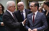 Polish Minister of Foreign Affairs Jacek Czaputowicz, left, speaks with German Minister of Foreign Affairs Heiko Maas, right, ahead of a Foreign Affairs minister meeting at EU headquarters in Brussels on March 19, 2018.  (JOHN THYS/AFP)