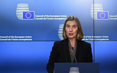 High Representative of the European Union for Foreign Affairs and Security Policy Federica Mogherini addresses a press conference during a Foreign Ministers meeting at EU headquarters in Brussels on March 19, 2018.  (AFP PHOTO / JOHN THYS)