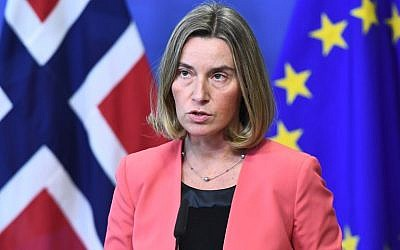 EU foreign policy chief Federica Mogherini addresses a joint press conference before chairing a regular session of the International Donor Group for Palestine (Ad Hoc Liaison Committee (AHLC)) at the European Commission in Brussels on March 20, 2017.  (AFP PHOTO / EMMANUEL DUNAND)