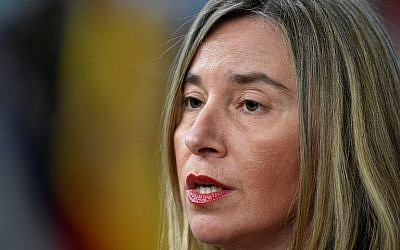 EU's High representative for foreign affairs and security policy Federica Mogherini speaks to the press as she arrives on the first day of a summit of European Union (EU) leaders at the EU headquarters in Brussels, on March 22, 2018. (AFP/ JOHN THYS)