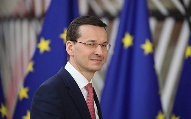 Polish Prime Minister Mateusz Morawiecki arrives on the first day of a summit of European Union (EU) leaders at the EU headquarters in Brussels, on March 22, 2018. (AFP PHOTO / ludovic MARIN)