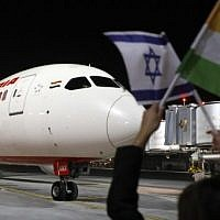A Boeing 787 flight number AI139 of Indian national carrier Air India, from New Delhi, performs maneuvers on the tarmac at Ben Gurion International Airport on the outskirts of Tel Aviv, on March 22, 2018 after using Saudi airspace for the first time. (AFP PHOTO/JACK GUEZ)