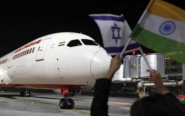 A Boeing 787 flight number AI139 of Indian national carrier Air India, from New Delhi, performs manoeuvres on the tarmac at Ben Gurion International Airport on the outskirts of Tel Aviv, on March 22, 2018 after using Saudi airspace for the first time.  ( AFP PHOTO / JACK GUEZ)