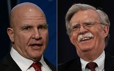 his combination of pictures created on March 22, 2018 shows outgoing White House National Security Advisor HR McMaster giving a key note speech in front of the Jamestown Foundation in Washington,DC on December 13, 2017 and former US Ambassador to the United Nations John Bolton speaking on February 22, 2018 during CPAC 2018 in National Harbor, Maryland. (AFP PHOTO / AFP PHOTO AND GETTY IMAGES NORTH AMERICA / Eric BARADAT AND Alex WONG)