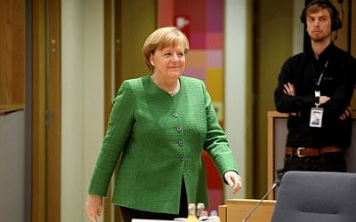 Germany's Chancellor Angela Merkel arrives to a meeting on the second day of a summit of European Union (EU) leaders at the European Council headquarter in Bruxelles, on March 23, 2018. (AFP/Ludovic Marin)