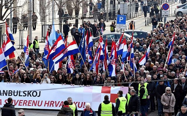Opponents to a treaty safeguarding women protest in the Croatian capital, Zagreb, on March 24, 2018. (AFP PHOTO / STR)