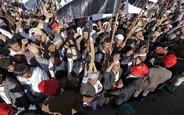 Supporters of Yemen's Houthi rebels attend a rally to mark three years of war on the country, in the capital Sanaa on March 26, 2018. (AFP PHOTO / Mohammed HUWAIS)