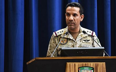 The spokesman of a Saudi-led military coalition Turki Al-Malki gives a press conference at the Armed Forces club in Riyadh on March 26, 2018. (AFP PHOTO / FAYEZ NURELDINE)